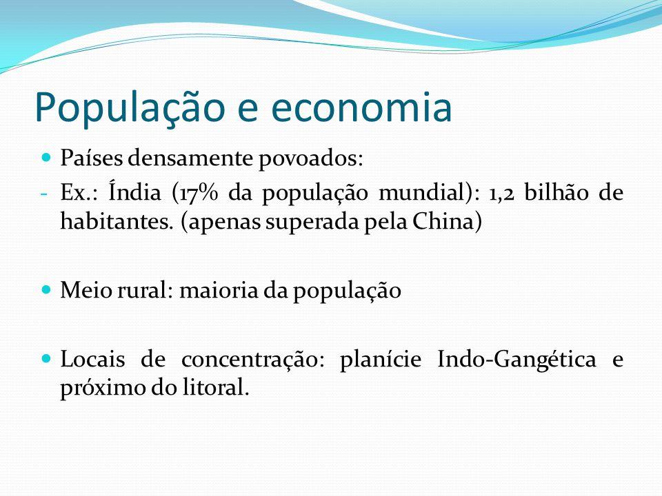 População e economia Países densamente povoados: - Ex.: Índia (17% da população mundial): 1,2 bilhão de habitantes. (apenas superada pela China) Meio