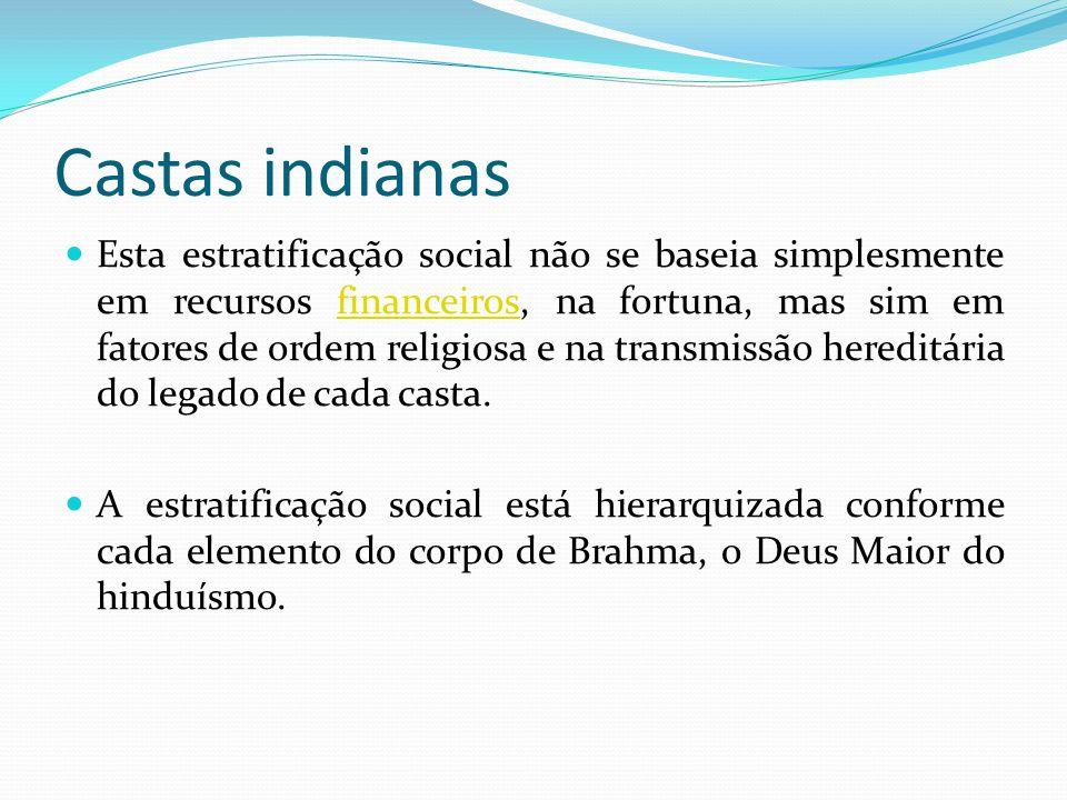 Castas indianas Esta estratificação social não se baseia simplesmente em recursos financeiros, na fortuna, mas sim em fatores de ordem religiosa e na
