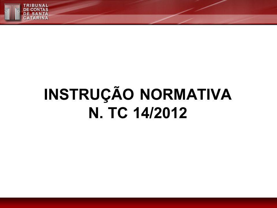 INSTRUÇÃO NORMATIVA N. TC 14/2012