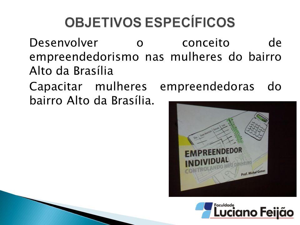 Desenvolver o conceito de empreendedorismo nas mulheres do bairro Alto da Brasília Capacitar mulheres empreendedoras do bairro Alto da Brasília.
