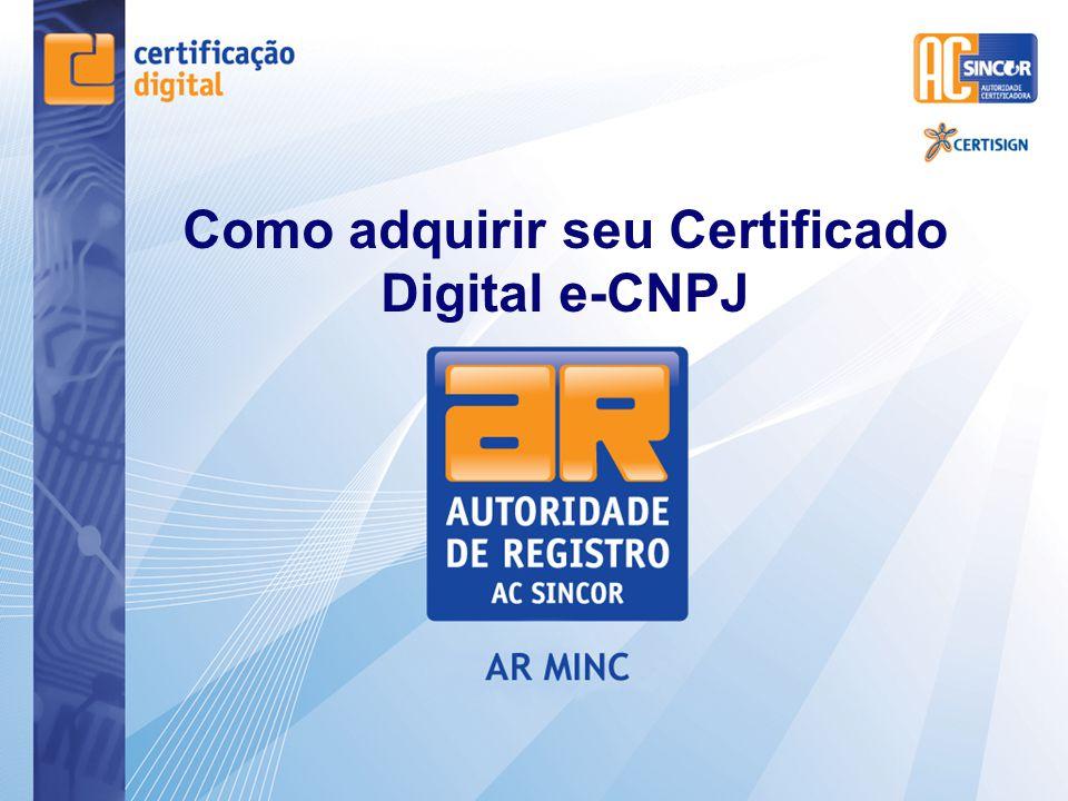3° Passo Dirigir - se a Autoridade de Registro ( AR ), previamente agendado para o reconhecimento presencial, munido de documentos necessários e do comprovante de pagamento do Certificado Digital.