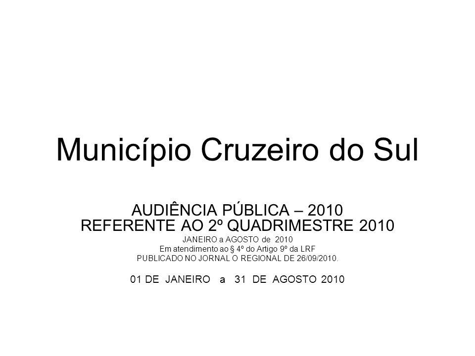 Município Cruzeiro do Sul AUDIÊNCIA PÚBLICA – 2010 REFERENTE AO 2º QUADRIMESTRE 2010 JANEIRO a AGOSTO de 2010 Em atendimento ao § 4º do Artigo 9º da LRF PUBLICADO NO JORNAL O REGIONAL DE 26/09/2010.