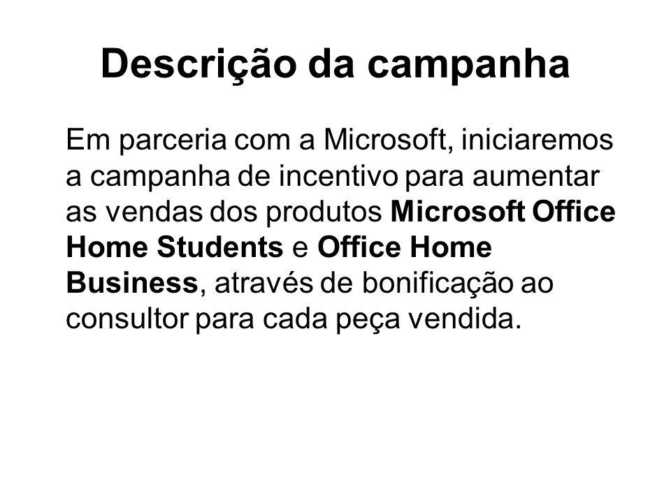 Descrição da campanha Em parceria com a Microsoft, iniciaremos a campanha de incentivo para aumentar as vendas dos produtos Microsoft Office Home Stud