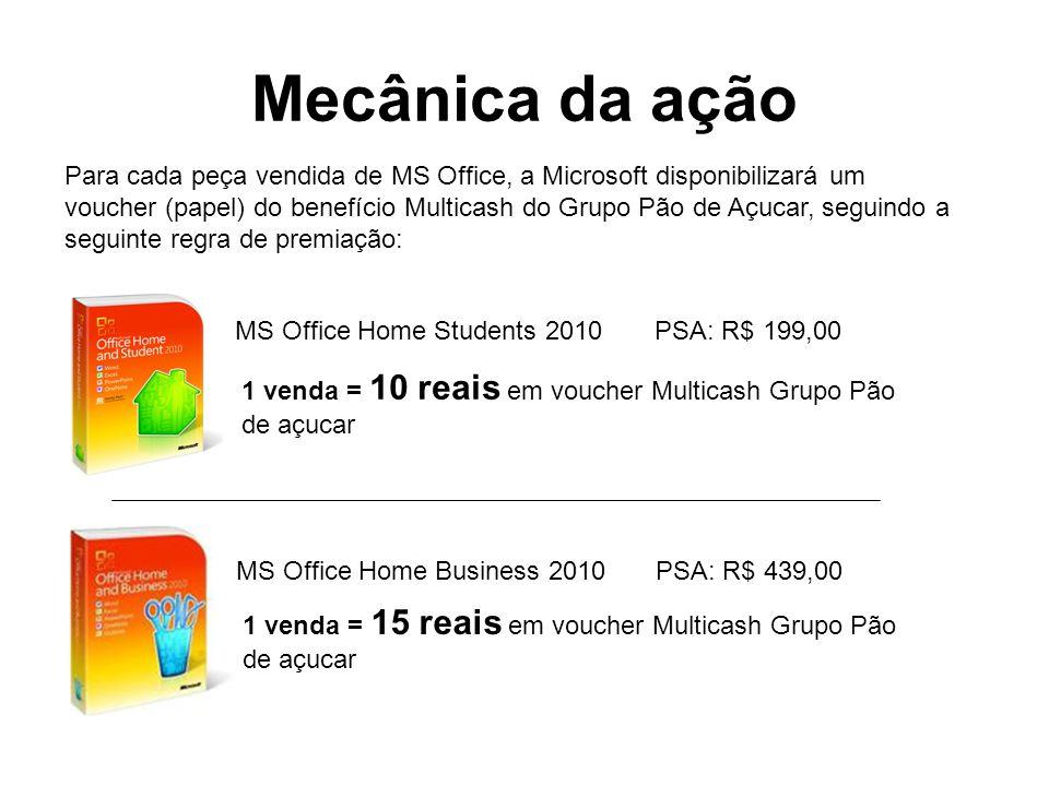 Mecânica da ação Para cada peça vendida de MS Office, a Microsoft disponibilizará um voucher (papel) do benefício Multicash do Grupo Pão de Açucar, se