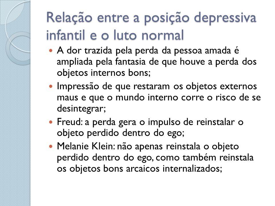 Relação entre a posição depressiva infantil e o luto normal A dor trazida pela perda da pessoa amada é ampliada pela fantasia de que houve a perda dos
