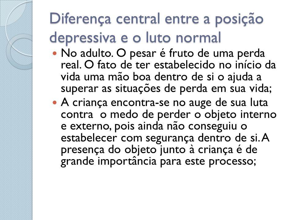 Diferença central entre a posição depressiva e o luto normal No adulto. O pesar é fruto de uma perda real. O fato de ter estabelecido no início da vid