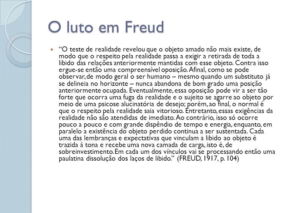 O luto em Freud O teste de realidade revelou que o objeto amado não mais existe, de modo que o respeito pela realidade passa a exigir a retirada de toda a libido das relações anteriormente mantidas com esse objeto.