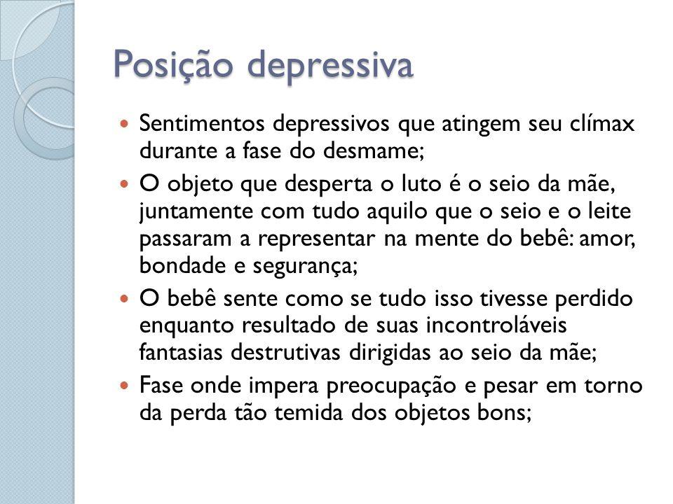 Posição depressiva Sentimentos depressivos que atingem seu clímax durante a fase do desmame; O objeto que desperta o luto é o seio da mãe, juntamente