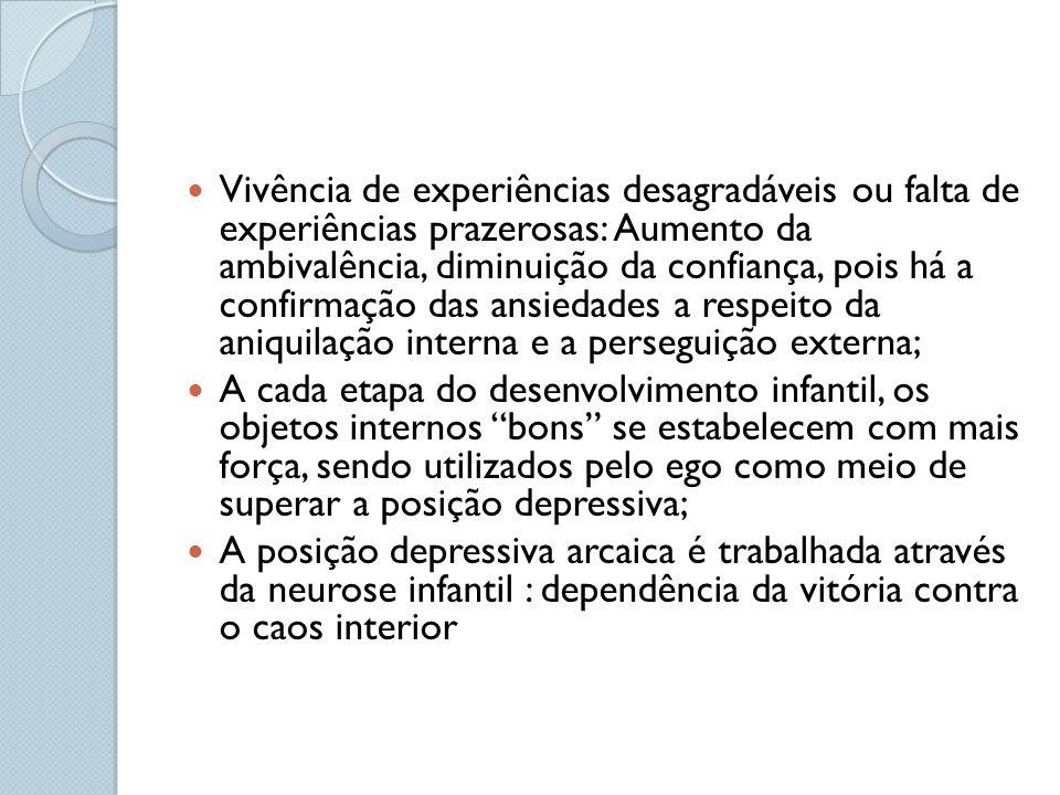 Vivência de experiências desagradáveis ou falta de experiências prazerosas: Aumento da ambivalência, diminuição da confiança, pois há a confirmação da