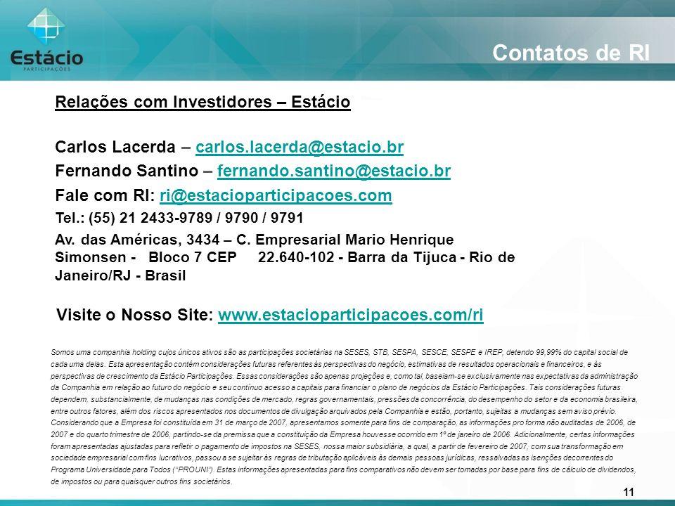 11 Contatos de RI Relações com Investidores – Estácio Carlos Lacerda – carlos.lacerda@estacio.brcarlos.lacerda@estacio.br Fernando Santino – fernando.santino@estacio.brfernando.santino@estacio.br Fale com RI: ri@estacioparticipacoes.comri@estacioparticipacoes.com Tel.: (55) 21 2433-9789 / 9790 / 9791 Av.