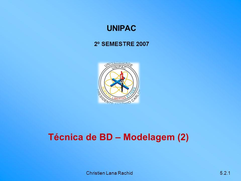 Christien Lana Rachid5.2.1 Técnica de BD – Modelagem (2) UNIPAC 2º SEMESTRE 2007