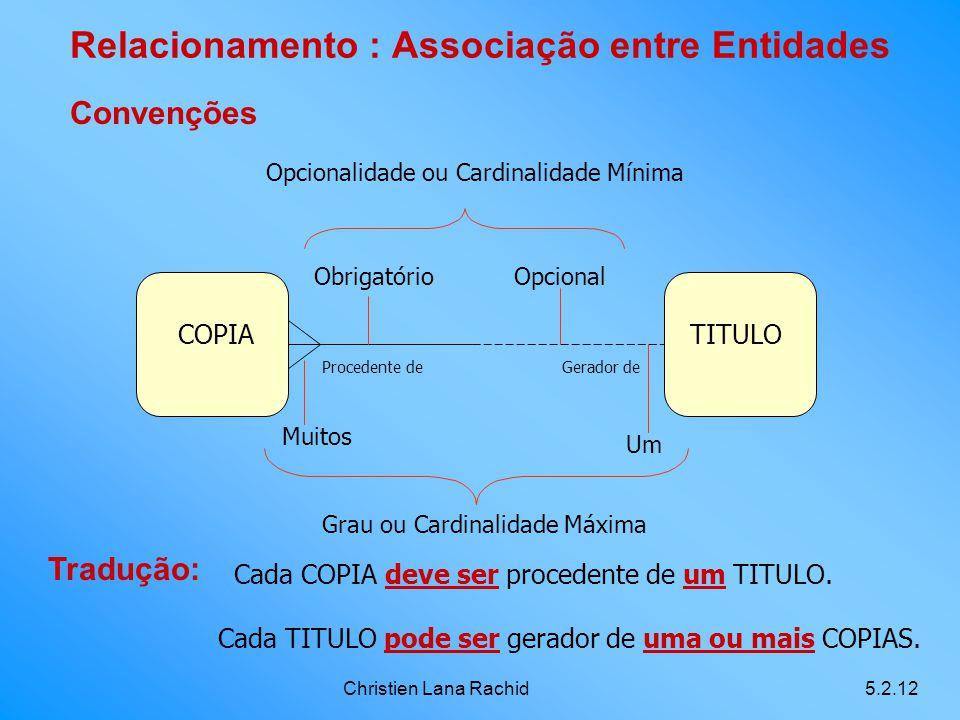 Christien Lana Rachid5.2.12 Relacionamento : Associação entre Entidades Convenções Tradução: Cada COPIA deve ser procedente de um TITULO. Cada TITULO