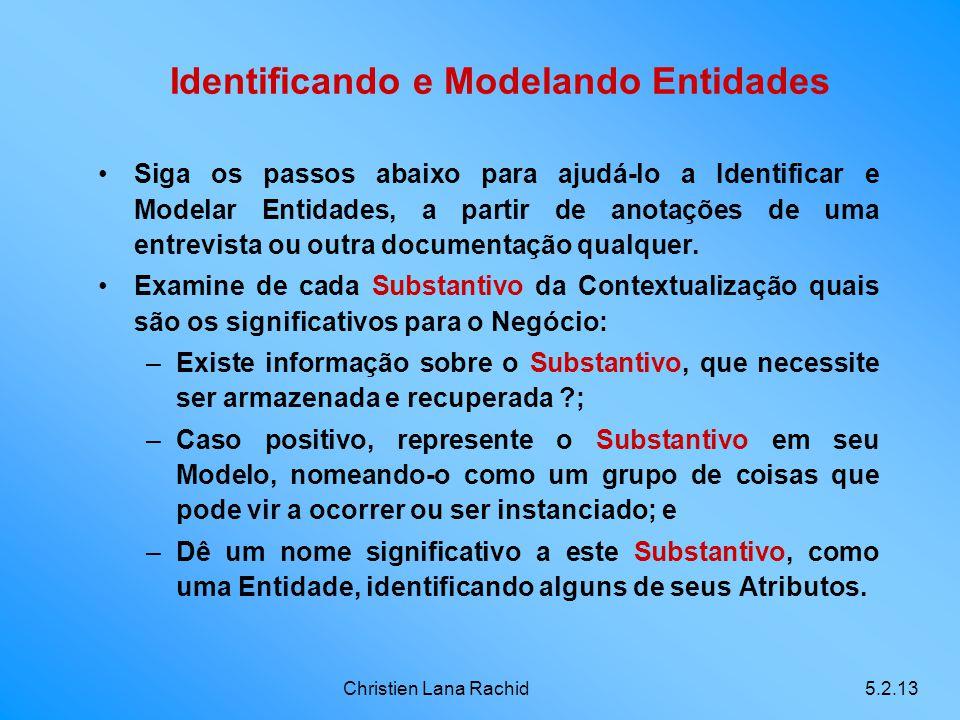 Christien Lana Rachid5.2.13 Identificando e Modelando Entidades Siga os passos abaixo para ajudá-lo a Identificar e Modelar Entidades, a partir de ano