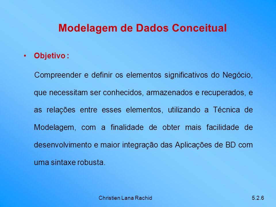 Christien Lana Rachid5.2.6 Modelagem de Dados Conceitual Objetivo : Compreender e definir os elementos significativos do Negócio, que necessitam ser c