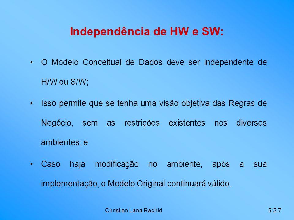 Christien Lana Rachid5.2.7 Independência de HW e SW: O Modelo Conceitual de Dados deve ser independente de H/W ou S/W; Isso permite que se tenha uma v