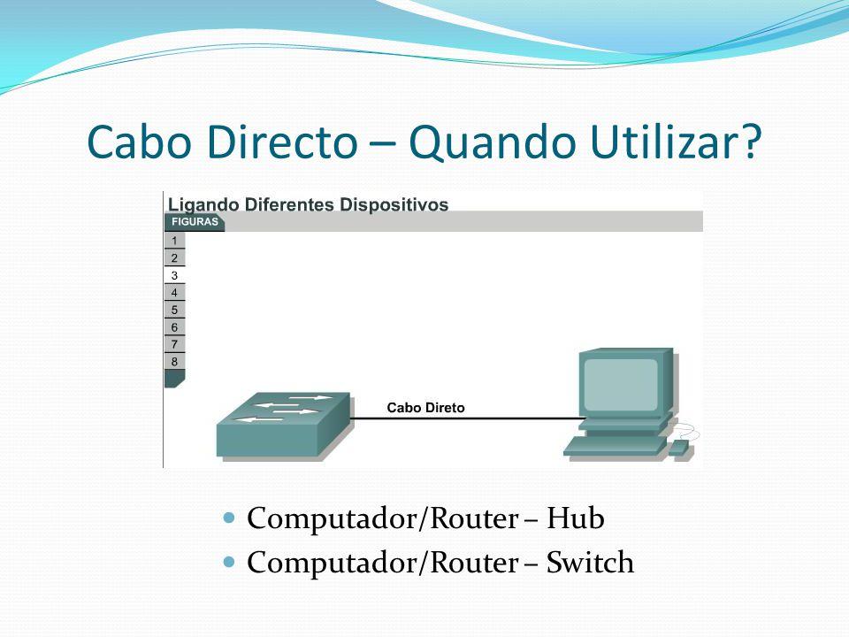 Cabo Directo – Quando Utilizar? Computador/Router – Hub Computador/Router – Switch