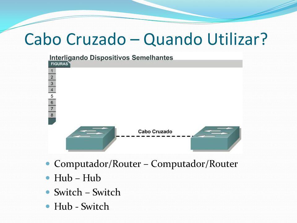 Computador/Router – Computador/Router Hub – Hub Switch – Switch Hub - Switch Cabo Cruzado – Quando Utilizar