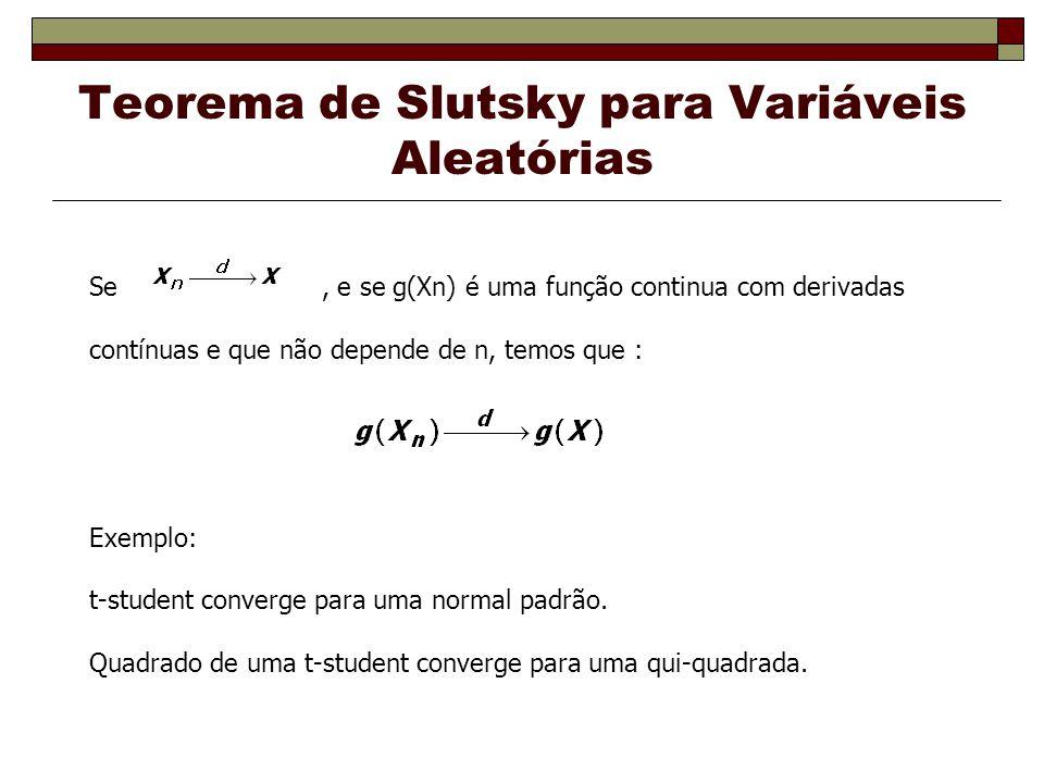 Teorema de Slutsky para Variáveis Aleatórias Se, e se g(Xn) é uma função continua com derivadas contínuas e que não depende de n, temos que : Exemplo: t-student converge para uma normal padrão.