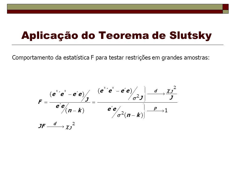 Aplicação do Teorema de Slutsky Comportamento da estatística F para testar restrições em grandes amostras: