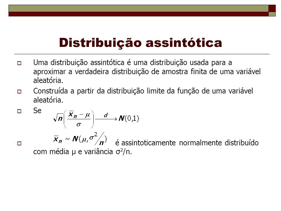 Distribuição assintótica Uma distribuição assintótica é uma distribuição usada para a aproximar a verdadeira distribuição de amostra finita de uma variável aleatória.