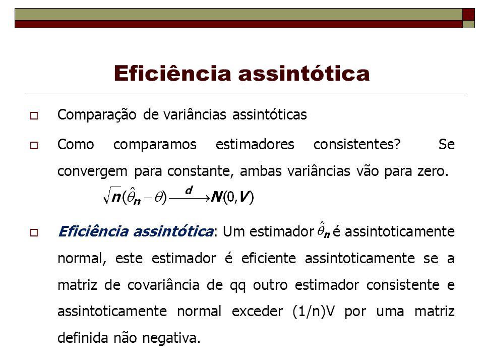 Eficiência assintótica Comparação de variâncias assintóticas Como comparamos estimadores consistentes.