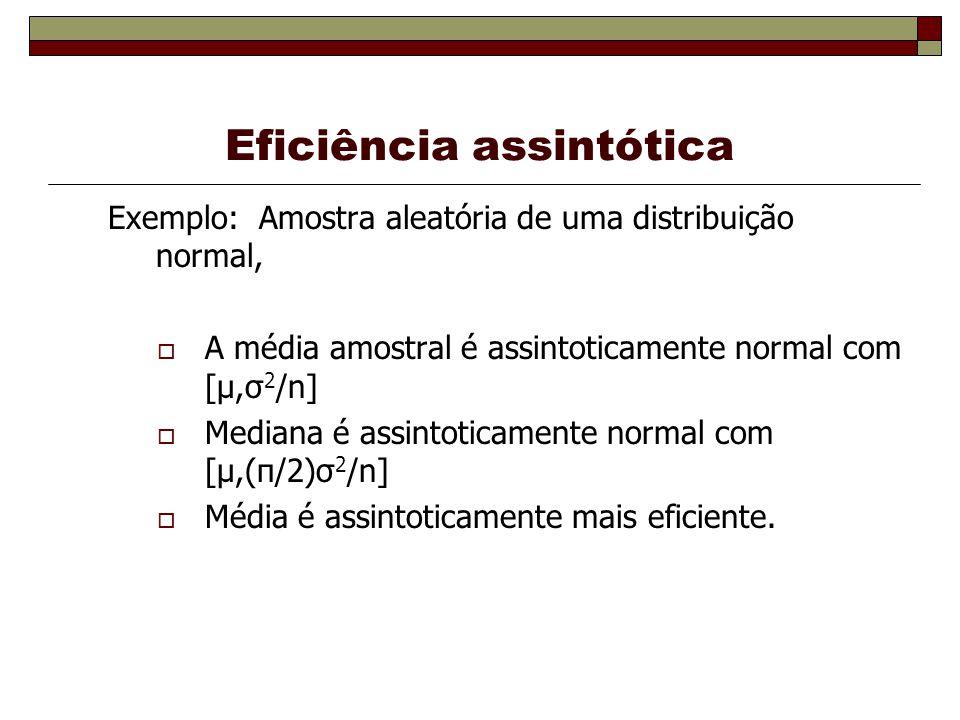 Eficiência assintótica Exemplo: Amostra aleatória de uma distribuição normal, A média amostral é assintoticamente normal com [μ,σ 2 /n] Mediana é assintoticamente normal com [μ,(π/2)σ 2 /n] Média é assintoticamente mais eficiente.