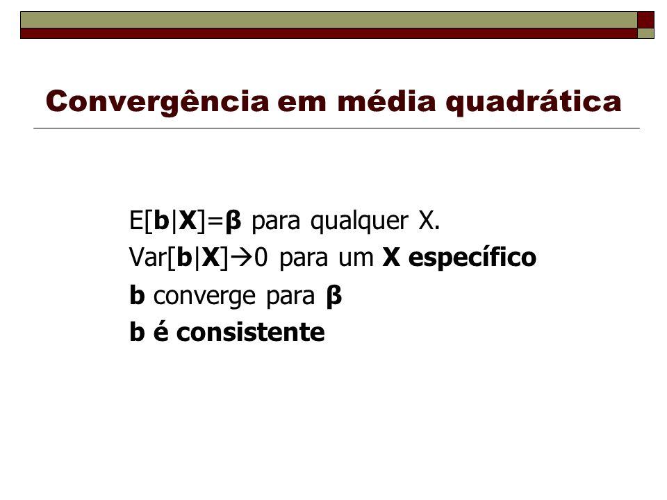 Convergência em média quadrática E[b|X]=β para qualquer X.