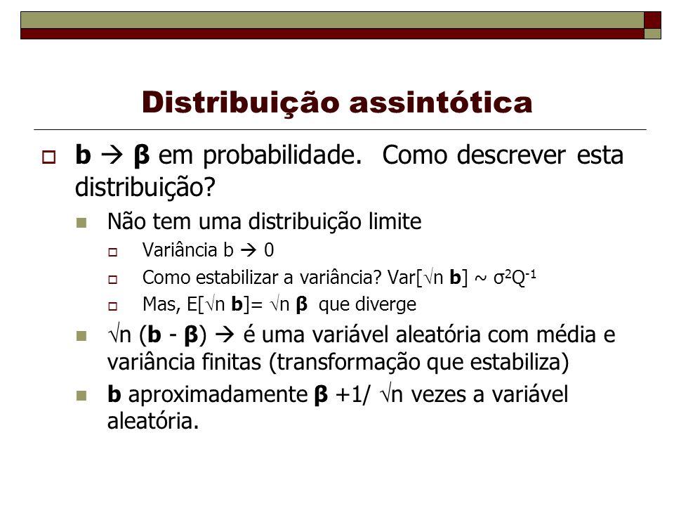 Distribuição assintótica b β em probabilidade.Como descrever esta distribuição.