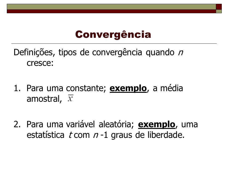 Convergência Definições, tipos de convergência quando n cresce: 1.