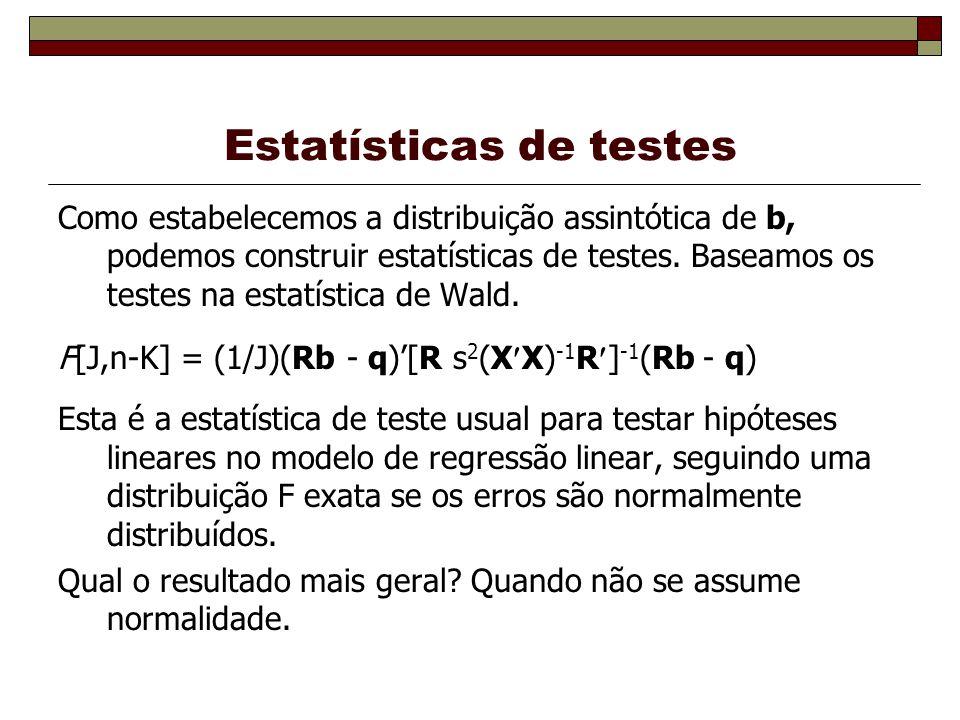 Estatísticas de testes Como estabelecemos a distribuição assintótica de b, podemos construir estatísticas de testes.