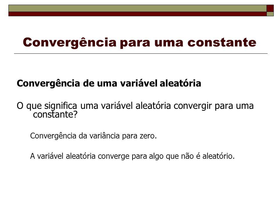 Convergência para uma constante Convergência de uma variável aleatória O que significa uma variável aleatória convergir para uma constante.