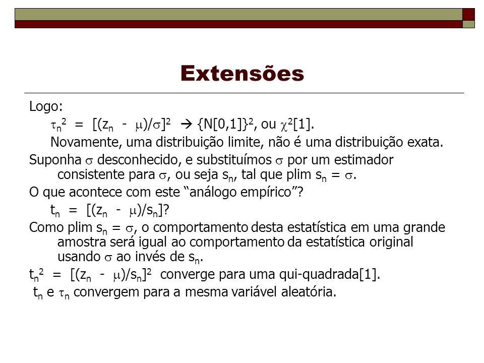 Extensões Logo: n 2 = [(z n - )/ ] 2 {N[0,1]} 2, ou 2 [1].