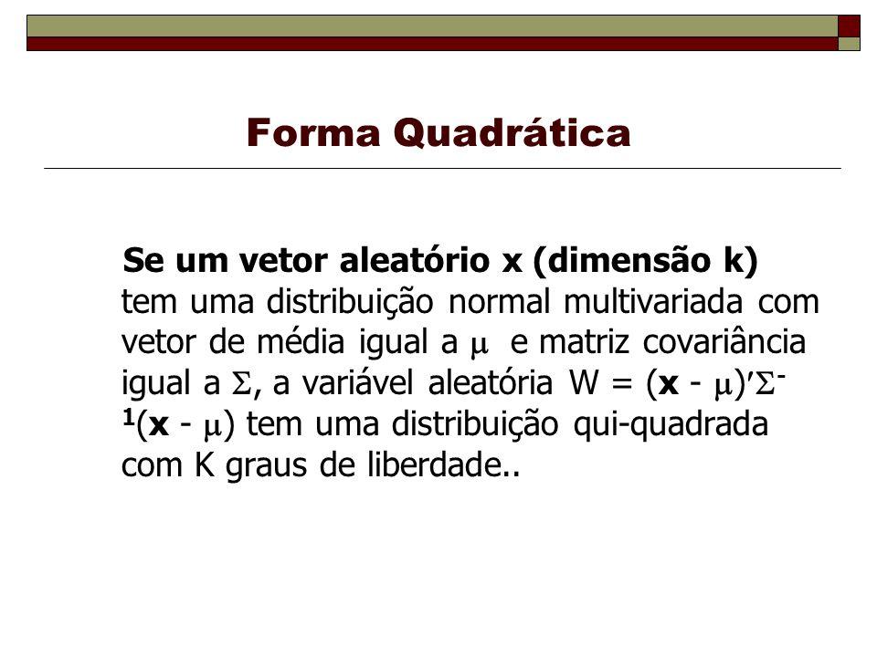 Forma Quadrática Se um vetor aleatório x (dimensão k) tem uma distribuição normal multivariada com vetor de média igual a e matriz covariância igual a, a variável aleatória W = (x - ) - 1 (x - ) tem uma distribuição qui-quadrada com K graus de liberdade..