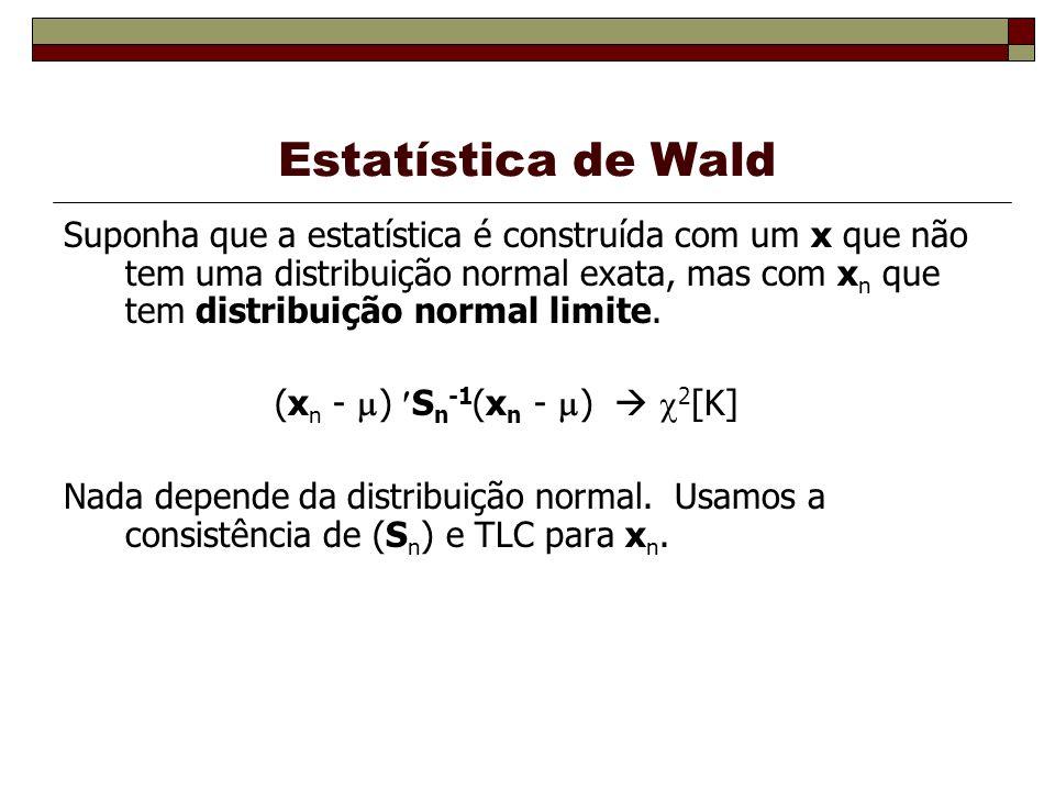 Estatística de Wald Suponha que a estatística é construída com um x que não tem uma distribuição normal exata, mas com x n que tem distribuição normal limite.
