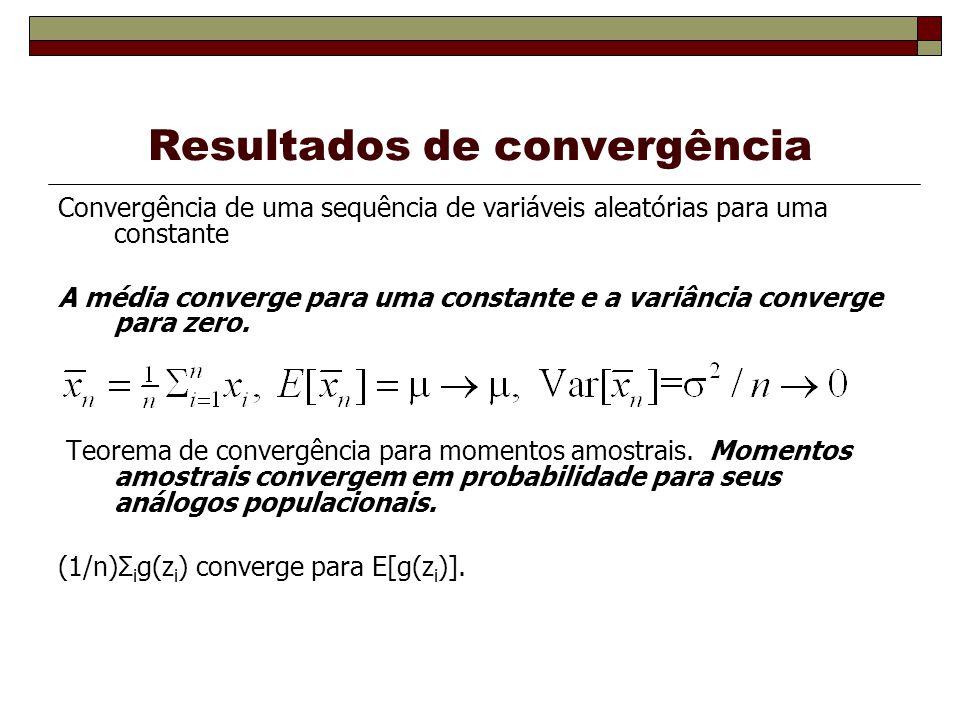 Resultados de convergência Convergência de uma sequência de variáveis aleatórias para uma constante A média converge para uma constante e a variância converge para zero.