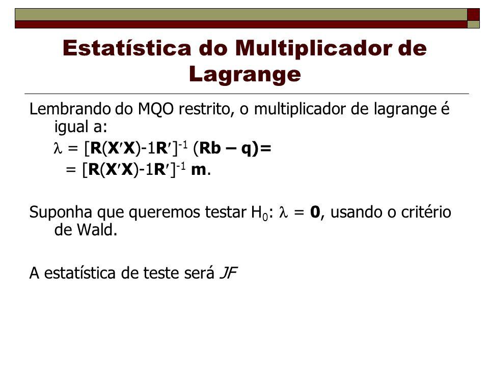 Estatística do Multiplicador de Lagrange Lembrando do MQO restrito, o multiplicador de lagrange é igual a: = [R(X X)-1R ] -1 (Rb – q)= = [R(X X)-1R ] -1 m.