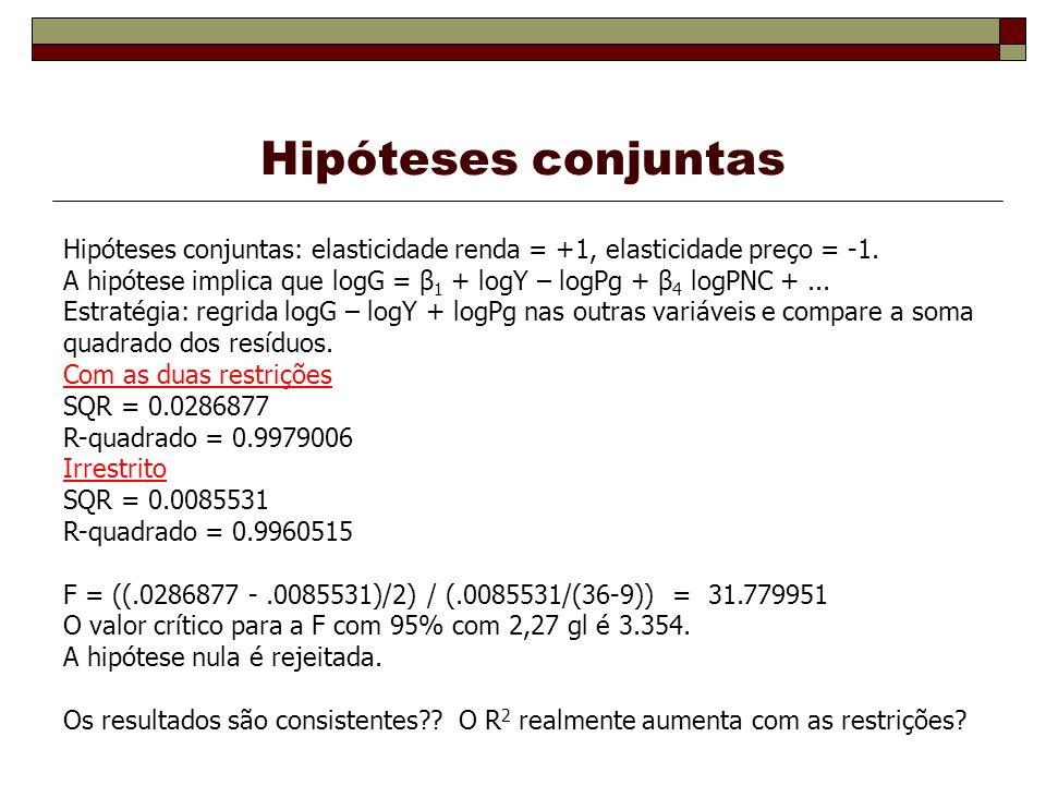 Hipóteses conjuntas Hipóteses conjuntas: elasticidade renda = +1, elasticidade preço = -1.