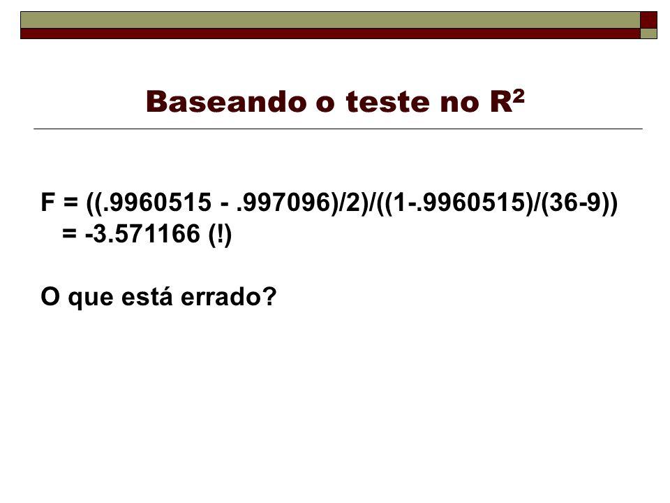 Baseando o teste no R 2 F = ((.9960515 -.997096)/2)/((1-.9960515)/(36-9)) = -3.571166 (!) O que está errado?