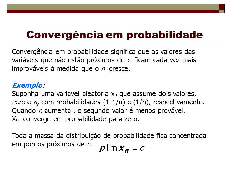 Convergência em probabilidade Convergência em probabilidade significa que os valores das variáveis que não estão próximos de c ficam cada vez mais improváveis à medida que o n cresce.