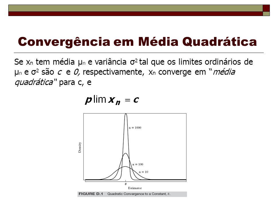 Convergência em Média Quadrática Se x n tem média μ n e variância σ 2 tal que os limites ordinários de μ n e σ 2 são c e 0, respectivamente, x n converge em média quadrática para c, e