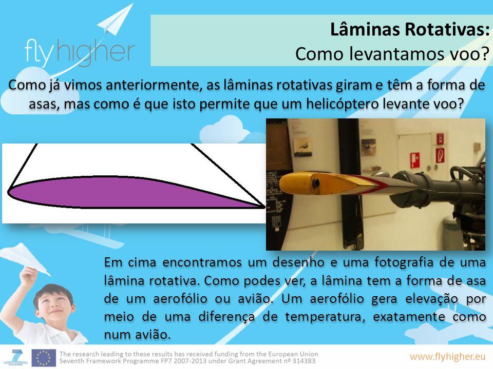 www.flyhigher.eu Como já vimos anteriormente, as lâminas rotativas giram e têm a forma de asas, mas como é que isto permite que um helicóptero levante