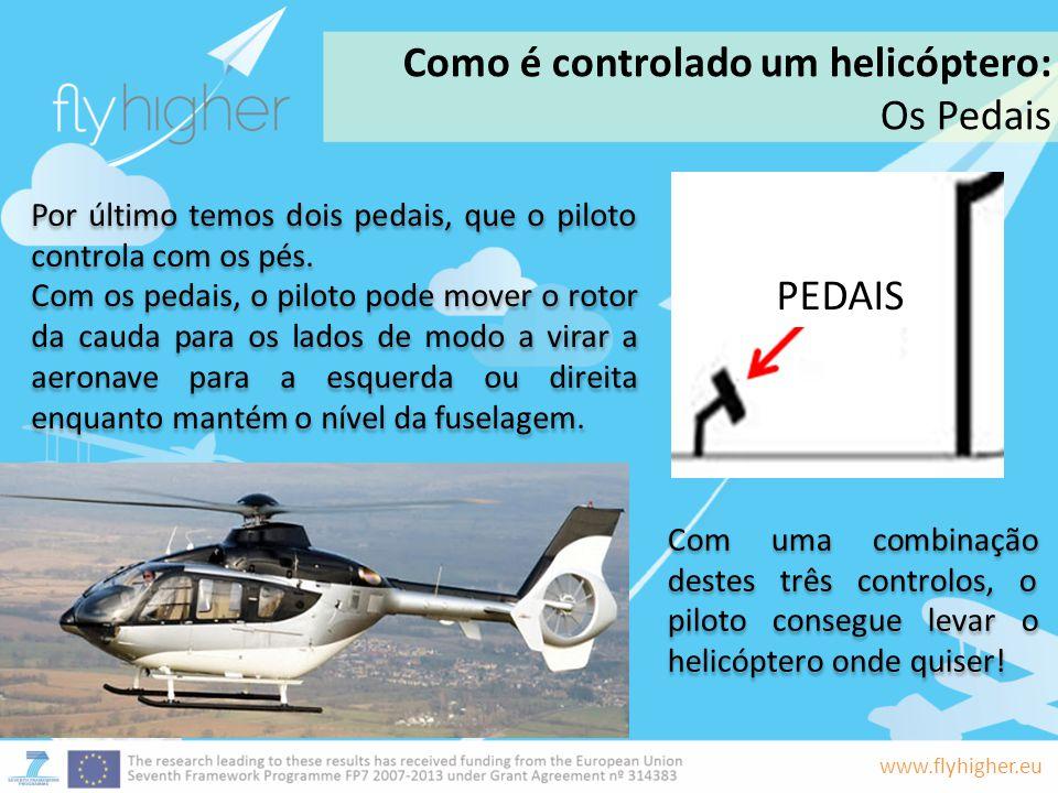 www.flyhigher.eu Por último temos dois pedais, que o piloto controla com os pés. Com os pedais, o piloto pode mover o rotor da cauda para os lados de