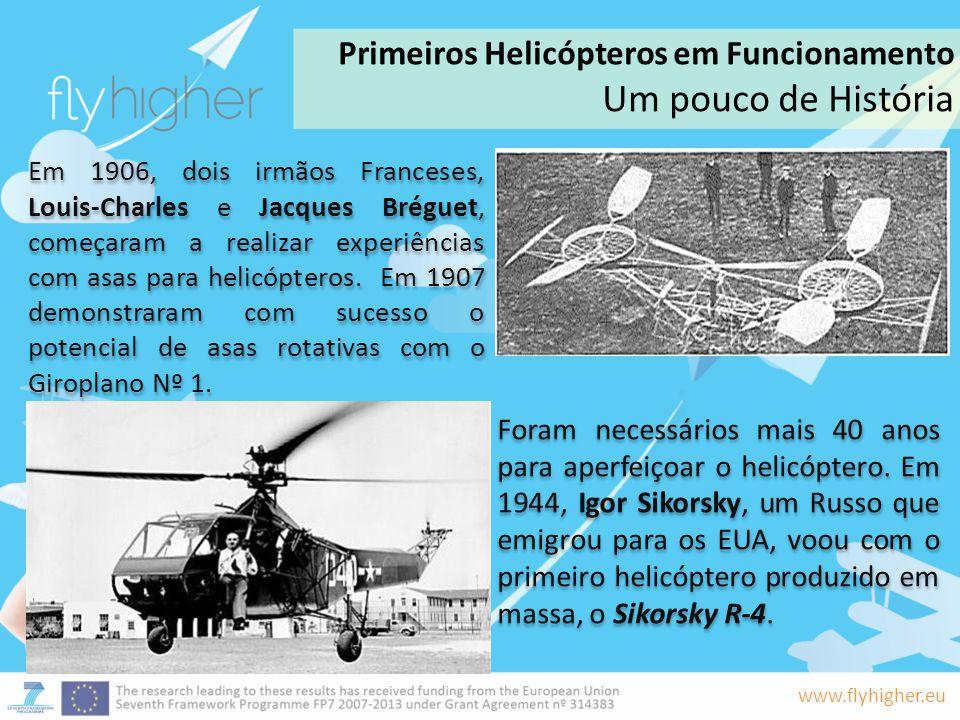www.flyhigher.eu Foram necessários mais 40 anos para aperfeiçoar o helicóptero. Em 1944, Igor Sikorsky, um Russo que emigrou para os EUA, voou com o p