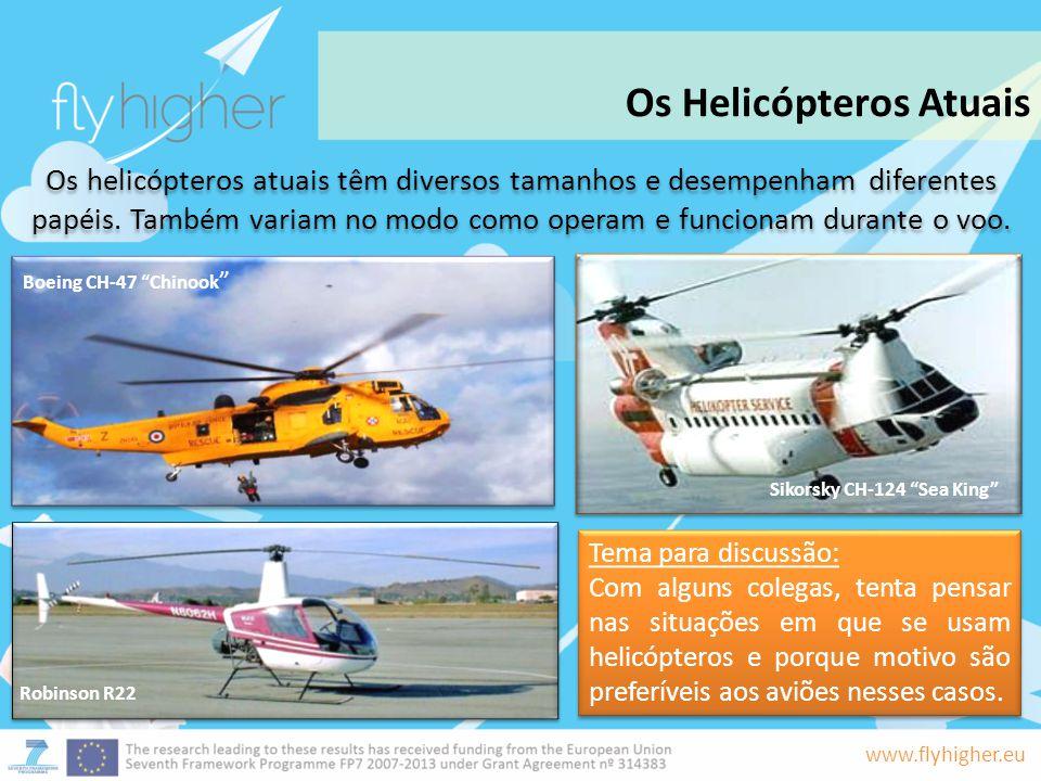 www.flyhigher.eu Os helicópteros atuais têm diversos tamanhos e desempenham diferentes papéis. Também variam no modo como operam e funcionam durante o