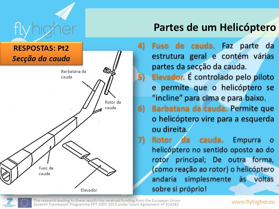 www.flyhigher.eu 4)Fuso de cauda. Faz parte da estrutura geral e contém várias partes da secção da cauda. 5)Elevador. É controlado pelo piloto e permi