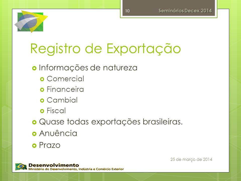 Registro de Exportação Informações de natureza Comercial Financeira Cambial Fiscal Quase todas exportações brasileiras. Anuência Prazo 10 Seminários D