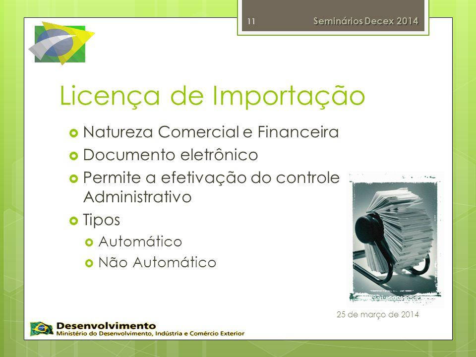 Licença de Importação Natureza Comercial e Financeira Documento eletrônico Permite a efetivação do controle Administrativo Tipos Automático Não Automático 11 Seminários Decex 2014 25 de março de 2014