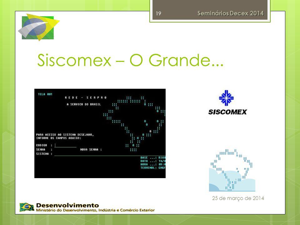 Siscomex – O Grande... 19 Seminários Decex 2014 25 de março de 2014