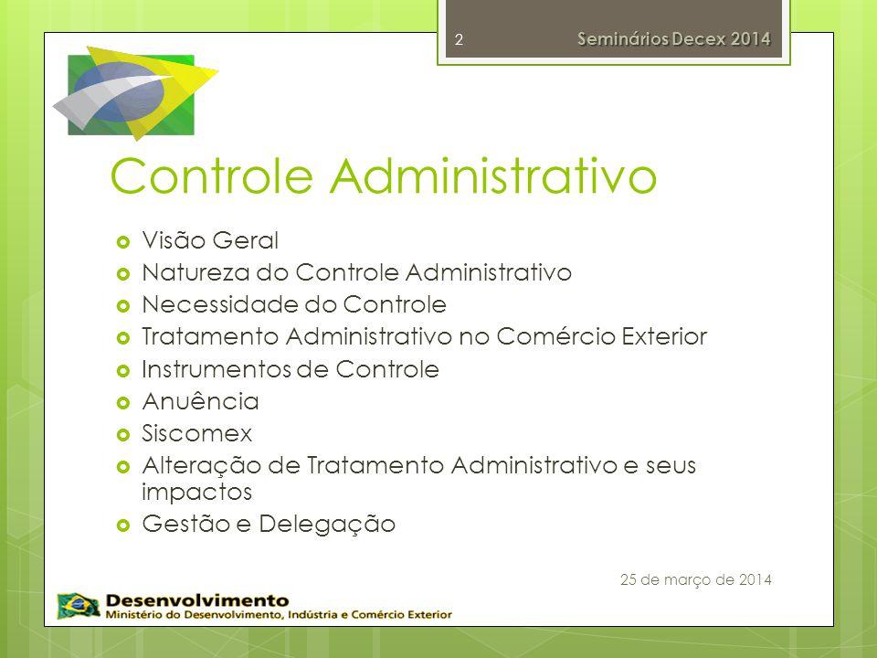 Controle Administrativo Visão Geral Natureza do Controle Administrativo Necessidade do Controle Tratamento Administrativo no Comércio Exterior Instrum