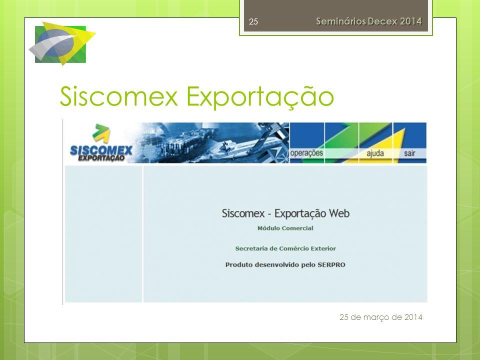 Siscomex Exportação 25 25 de março de 2014 Seminários Decex 2014